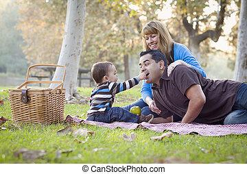 feliz, carrera mezclada, étnico, familia , merienda campestre que tiene, en el parque