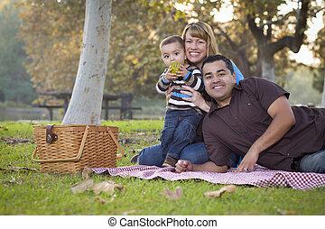 feliz, carrera mezclada, étnico, familia , tener un picnic, en el parque