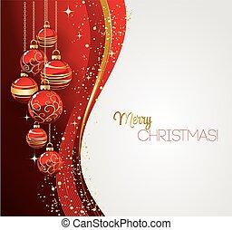 feliz, cartão, natal, vermelho, bauble
