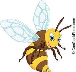 feliz, cartón, abeja