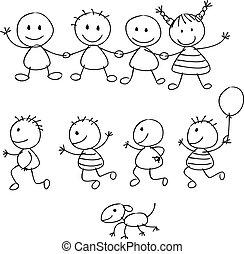 feliz, cartón, niños