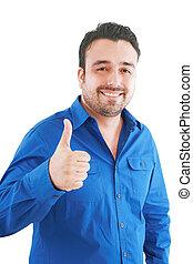feliz, casual, homem jovem, mostrando, polegar cima, e,...