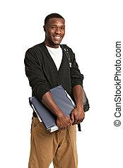 feliz, casual, vestido, jovem, americano africano, estudante universitário