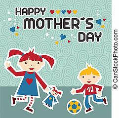 feliz, celebração, dia, mães