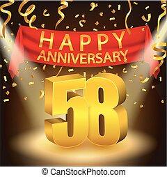 feliz, celebración, aniversario, 58th
