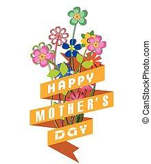 feliz, celebración, día, madres