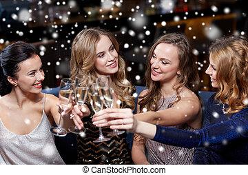 feliz, champaña, club, noche, anteojos, mujeres