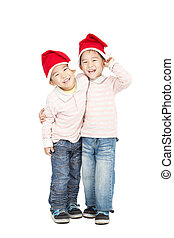feliz, chapéus, crianças, asiático, natal