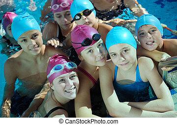 feliz, childrens, em, piscina