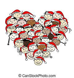 feliz, christmas!, feliz, povos, para, seu, desenho
