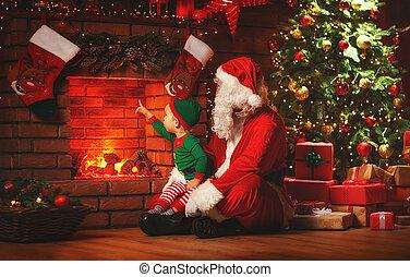 feliz, christmas!, papai noel, e, pequeno, duende, perto, lareira