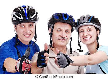 feliz, ciclistas, familia