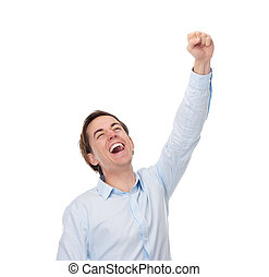 feliz, cima, mão, retrato, fim, celebração, homem
