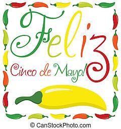 """""""Feliz Cinco de Mayo"""" (Happy 5th of May) card in vector format."""