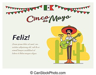 Feliz Cinco de Mayo. Mexican is holding the national fast...