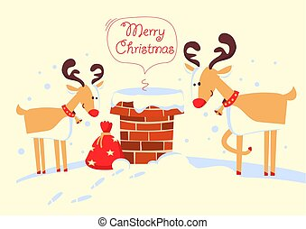 feliz, claus, deers, cartão, santa, noturna, feriado, natal, chaminé