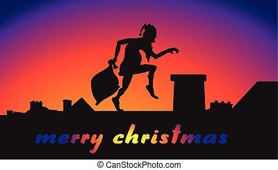 feliz, claus, -, natal, santa