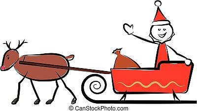 feliz, claus, -, santa, sleigh, natal