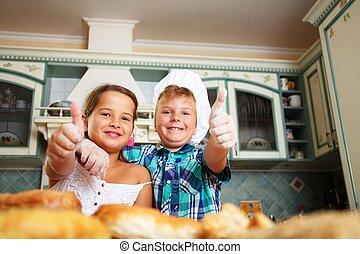 feliz, cocina, pastel, casero, niños