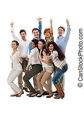 feliz, comércio pessoas, equipe, agrupe