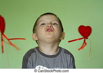 feliz, com, corações