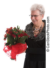 feliz, com, dela, flores