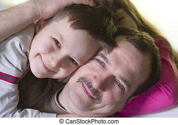 feliz, com, pai