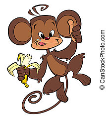 feliz, comer, macaco, banana, caricatura