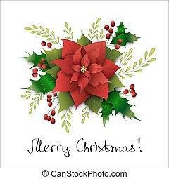 feliz, composição, vetorial, papel, mistletoe., natal, natal., estilo, mão, arte, poinsettia, lettering