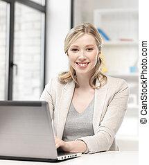 feliz, computador laptop, mulher