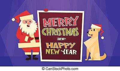 feliz, conceito, inverno, bandeira, claus, saudação, cão, cartão, santa, ano, novo, feriados, chapéu, natal, vermelho, feliz