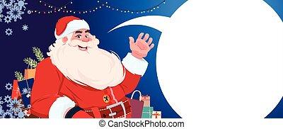 feliz, conceito, inverno, bandeira, claus, saudação, feriados, conversa, santa, ano, novo, bolha, cartão natal, feliz