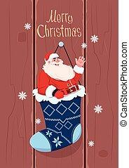 feliz, conceito, inverno, claus, meia, saudação, feriados, cartão, santa, ano, penduradas, novo, bandeira, presente natal, feliz