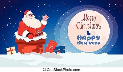 feliz, conceito, inverno, claus, saudação, feriados, cartão, santa, ano, novo, bandeira, natal, chaminé, feliz