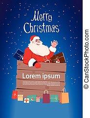 feliz, conceito, inverno, claus, saudação, feriados, santa, ano, novo, bandeira, cartão natal, feliz