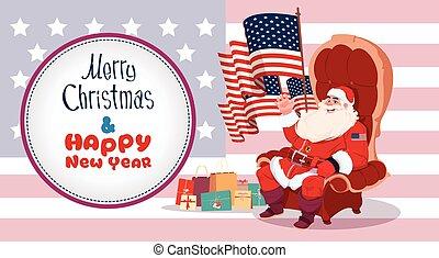 feliz, conceito, inverno, eua, sentando, claus, saudação, feriados, bandeira, santa, ano, novo, ter, bandeira, cartão natal, feliz
