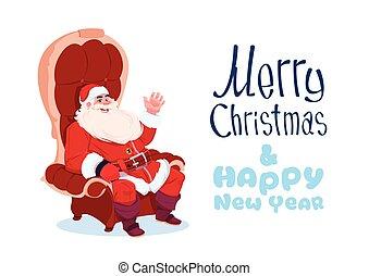 feliz, conceito, inverno, sentando, poltrona, claus, saudação, feriados, santa, ano, novo, bandeira, cartão natal, feliz