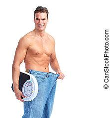 feliz, condicão física, homem, com, um, escalas.