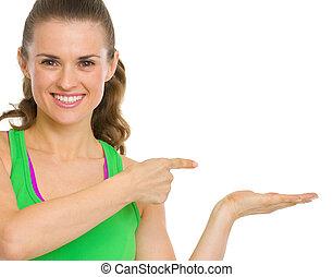 feliz, condicão física, mulher jovem, apresentando, algo,...