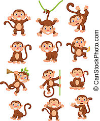 feliz, conjunto, caricatura, colección, mono
