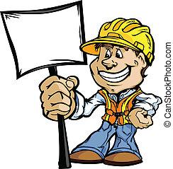 feliz, construção, contratante, com, sinal, caricatura, vetorial, imagem
