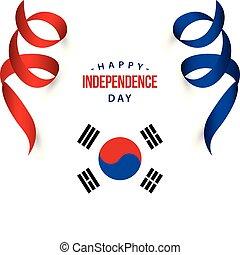 feliz, coréia, república, dia independência, vetorial,...