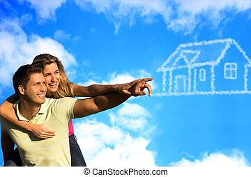 feliz, coupleunder, a, céu azul, sonhar, de, um, house.