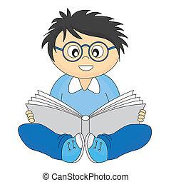 feliz, criança, leitura