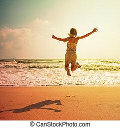 feliz, criança, praia