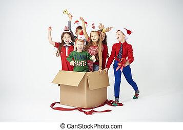 feliz, crianças, é, a, melhor, presente natal