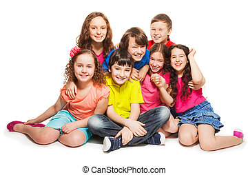 feliz, crianças, agrupe, sentando
