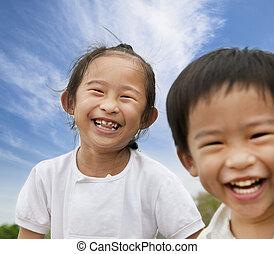 feliz, crianças, asiático