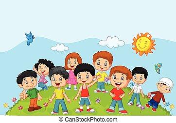feliz, crianças, caricatura