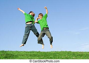 feliz, crianças, celebração, pular, ganhar